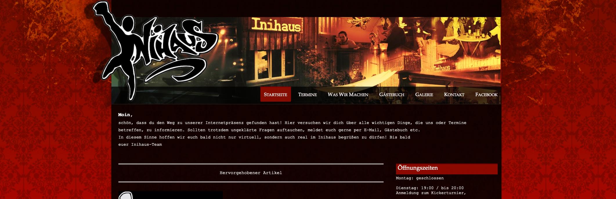 Screenshot alter Website